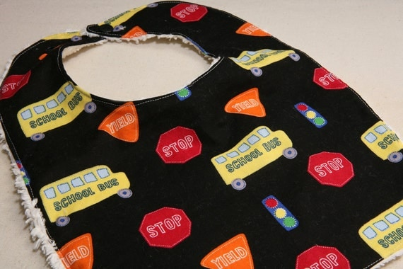 Clearance - Toddler bib - Bus Stop - ADJUSTABLE snaps - REVERSIBLE