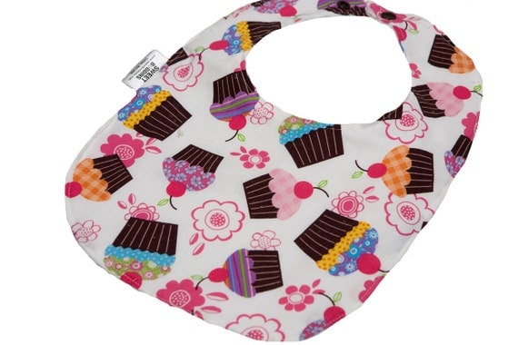 Chery Cupcakes - Infant or Toddler Bib - Terry Cloth Backing - Reversible with ADJUSTABLE Snaps