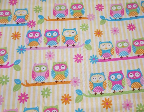 Sale - Custom Crib Sheet - Cute Owls on Branches - Cotton
