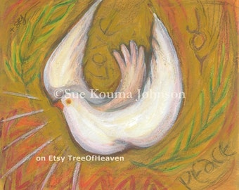 Confirmation Gift Holy Spirit Dove archival print Inspirational Catholic Art Wedding Gift