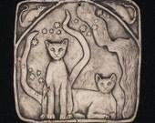 Two Cats Ceramic Pottery Porcelain Relief Animal Sculpture Tile