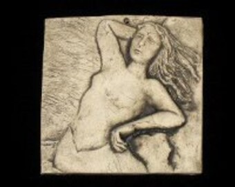 Mermaid in Sun 4x4 ceramic pottery porcelain relief  tile