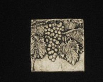 Grapes 4x4 ceramic porcelain relief fruit tile