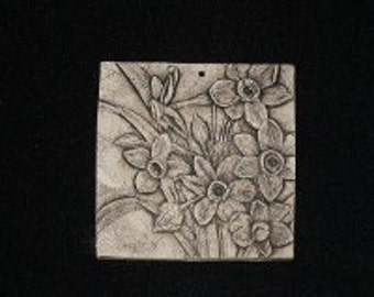 Narcissus Flower 4x4 ceramic porcelain relief tile