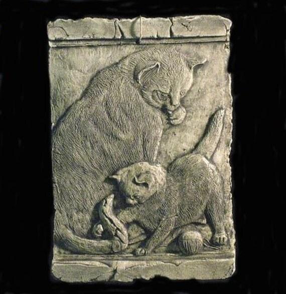 Cat and Kitten Ceramic Pottery Animal Sculpture Tile