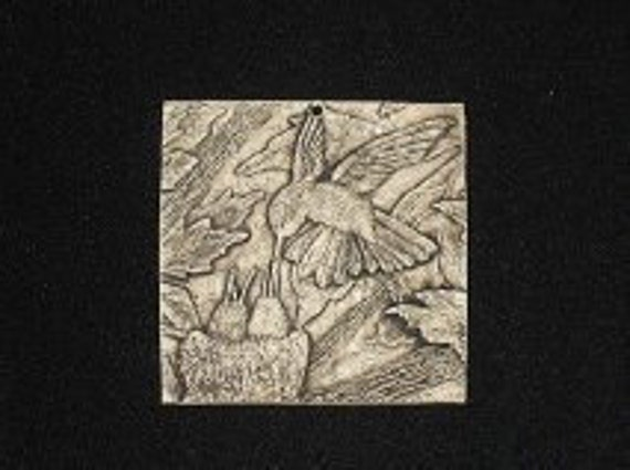 Humming Bird with Nest 4x4 ceramic porcelain relief tile
