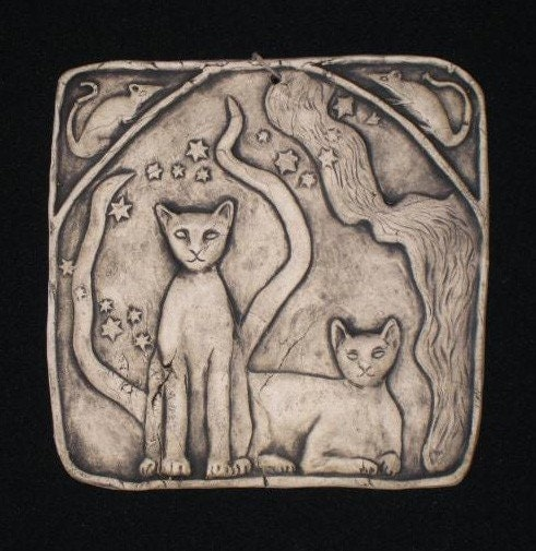 Two cats ceramic pottery porcelain relief animal sculpture