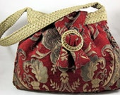 Burgundy Brocade Pleated Bag Vintage Inspired Chenille Upholstery Fabric Purse Steampunk Victorian Hobo Purse - OOAK