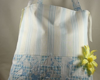 Tote Bag Large Floral Purse Floral Tote Shoulder Bag Shabby Chic Flying Geese - OOAK