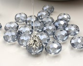 12x9mm 10 Clear Silver Chinese Crystal Puffy Rondelle Abacus Bead Rondelle Faceted Rondelles  ID