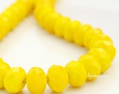 Rondelle-10x8mm Opaque Yellow Shimmer Rondelle Puffy Donuts (Qty 12 Rondelle Faceted Rondelles