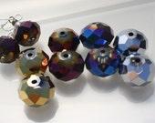 "Rondelle Designer Bead Mix 8 Rondelles 14x10mm ""Flaming Mars""  ID"