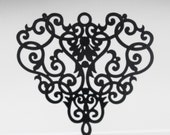2  Black over Brass Filligree Charm Drop Chandelier Component  43 x 40mm  ID