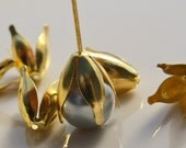 Four Leaf Foilage Bead Caps Gold Plated 13x11x11mm  ID