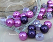 "Glass Pearl/Rondelle Bead Designer Mini Mix ""Purp Van Winkle Berry""  (20pcs) 12mm Glass Pearls and 12x9mm Rondelles"