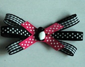 Pink Polka Dot and Black Plaid Handmade Hair Bow with Penguin Button Accent
