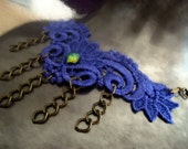 Coupon SALE Purple Lace with sparkely Glass Cab chain Bib necklace  OOAK
