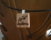 Woodburned Scrabble Tile Pendant - Starsign Sagittarius With Free Leather Necklace