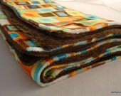 large minky baby blanket - block party and smooth chocolate minky