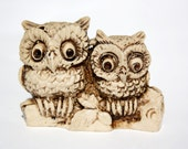 Reserved Cute Vintage 1960s/70s Soapstone Owl Figurines or Plant Accessory