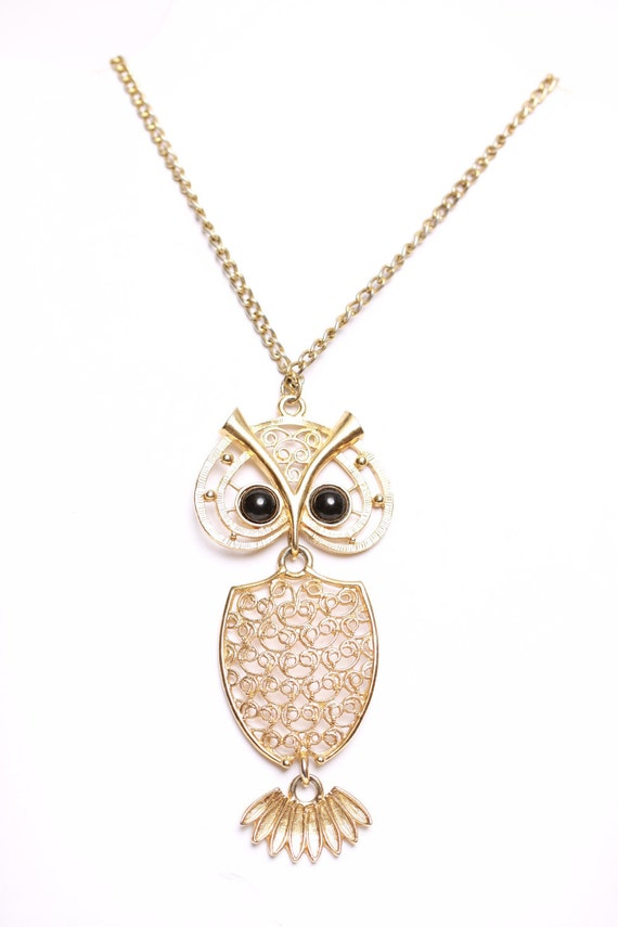 Vintage 1970s Large Mod Gold Jointed Owl Necklace 1.00 U.S. Shipping