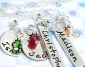 Mother or Grandma necklace - Handstamped necklace - Birthstone jewelry - Personalized 2 solid silver bars and 2 discs