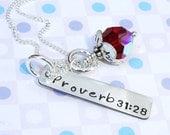 TODAY'S SALES - Mommy silver necklace ...bible verse name and birthstone sterling...Proverbs 31:28