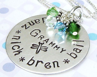 Grandma handstamped charm necklace - Birthstone jewelry - Name necklace