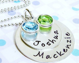 Birthstone necklace - Handstamped charm jewelry - Personalized jewelry -Stamped necklace - Mothers necklace