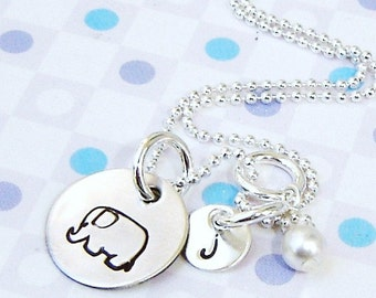 Personalized initial  necklace - Hand stamped jewelry -  Monogram elephant  charm necklace - petite charms