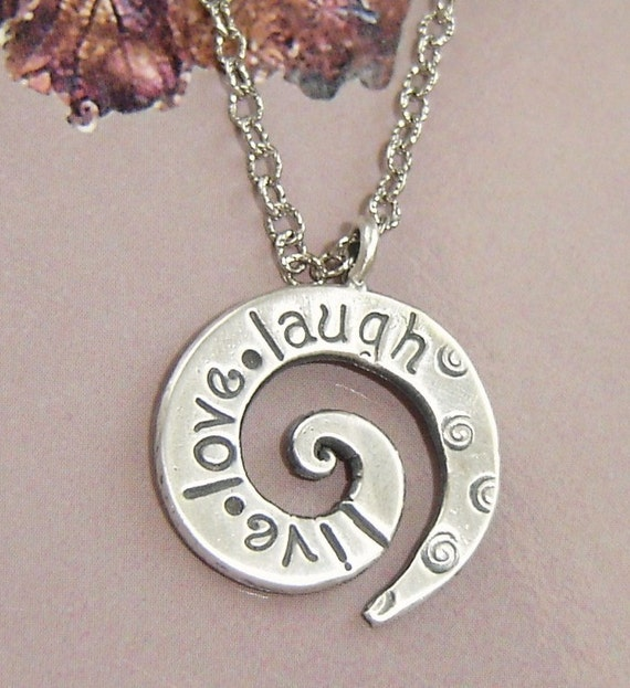 Live - Love - Laugh stamped on fine silver swirls and antique silver chain\/ handstamp\/custom stamp