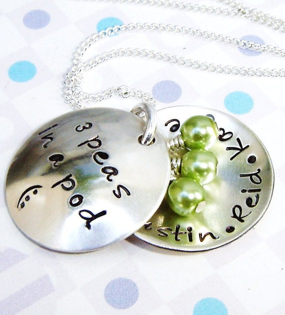 Reserve for becker02 - Brag about handstamped children's name necklace...4 Peas In A Pod - Domed Pods