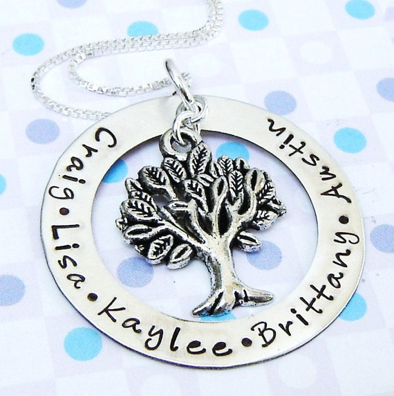 Hand stamped name washer necklace family tree jewelry...LAST ONE