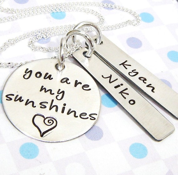 """Reserve for stefanieshaw1- with 2 sterling silver name bars and 5/8"""" charms"""