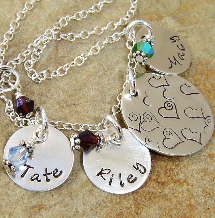 mother 39 s necklace with kids name and birthstone. Black Bedroom Furniture Sets. Home Design Ideas
