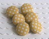 Yellow Polkas- 6 Small Buttons