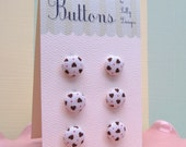 6 Lil Buttons- Honey Hearts and Red Polka Dots