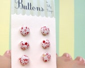 6 Lil Buttons- Tiny Pink and Red Flowers