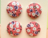 4  Medium Buttons- Pink Cottage Floral
