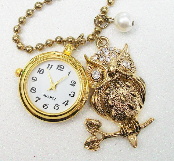 Ever Watchful Owl Gold Charm Necklace with a Pocket Watch That Really Works. Lovely Gift