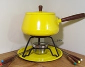Vintage 1970s Yellow Fondu Pot Set by Domus Modern on Etsy