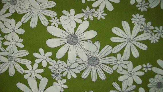 Vintage Fabric - Cotton Broadcloth Avocado Green - White