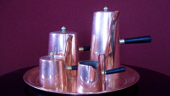 Reserved - Vintage Copper Coffee -Tea Service - Mid Century Modern - by Domus Modern on Etsy