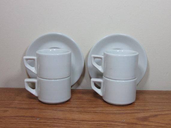 Sale Vintage Modern Italian ACF Espresso Demitasse Cups Mugs & Saucers in White