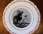 "Upcycled Vintage Limoges Plate with ""Revolver Girl 4"""