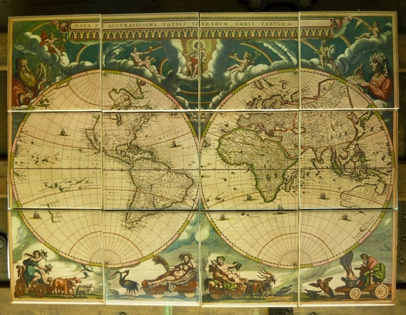 Items similar to antique world map mural ca 1660 on etsy for Antique map mural