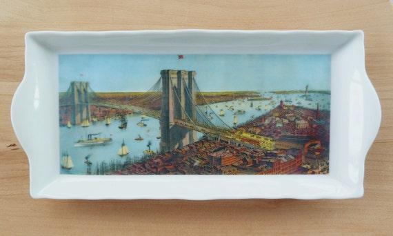 Dresser/ Desk Tray with Antique Brooklyn Bridge Design- Valentines Gift