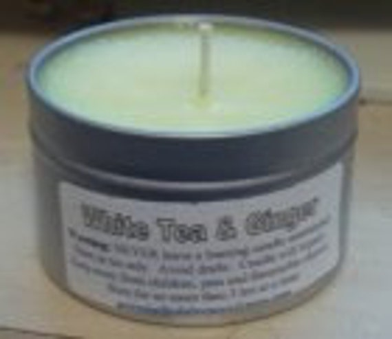 White Tea and Ginger Scented Travel Tin Candle