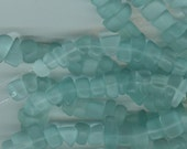 Azore sea blue green sea glass nugget beads 10x15mm   Item 2070