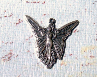 1726    Art  Nouveau Antique Silver Plated Fairy Charm
